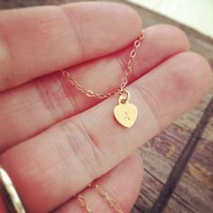Dainty Gold Filled Heart Initial Necklace This is a lightweight tiny gold filled heart necklace, gorgeous and cute! Very simple, you can wear it every day and match it with other necklaces too. Personalized Anniversary Gifts, Personalized Gifts, Tiny Heart, Heart Charm, Dainty Jewelry, Cute Jewelry, Initial Necklace, Necklace Set, Gifts For Wife