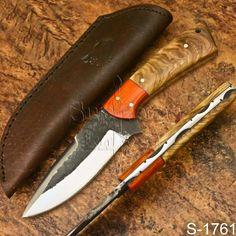 """SK-S1761 8"""" Supreme's Handmade High Carbon Steel Olive wood Skinner Knife-Sheath #Supremeknives Knife Sheath, High Carbon Steel, Knives, Wood, Handmade, Hand Made, Woodwind Instrument, Knifes, Knife Making"""