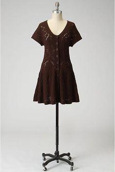 Anthropologie Floating Pointelle Cardigan Sz XS Dark Brown Tunic Sweater Sparrow #Sprarrow #Cardigan #Work