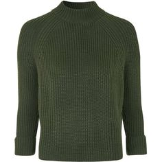 TOPSHOP TALL Boxy Jumper (275 RON) ❤ liked on Polyvore featuring tops, sweaters, khaki, green jumper, tall tops, funnel neck sweater, chunky sweater and green top