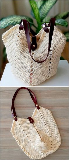 Style Crochet Ideas And Designs - Diy Rustics Diy Crochet Basket, Crochet Tote, Crochet Handbags, Crochet Purses, Crochet Crafts, Crochet Yarn, Crochet Projects, Crochet Ideas, Handbag Tutorial