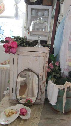 Vintage French mirror cracked glass by whitecottageinhills on Etsy, $63.00