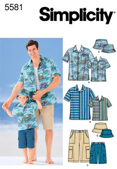 Simplicity Sewing Pattern 5581 Men's and boy's shirt, shorts and hat. Description: Button front short sleeve shirts have straight hem and collar. Mens Sewing Patterns, Sewing Men, Hat Patterns To Sew, Simplicity Sewing Patterns, Clothing Patterns, Kids Patterns, Dress Patterns, Sewing Ideas, Sewing Projects