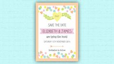 Wedding Save the Date - Instant printable downloads or printed stationery on your doorstep in just a few days. Customise all Save the Dates, invitations and other items via our website yourself at: http://www.hiphiphooray.com/category/wedding-and-celebrations/collections/candy-colours/  Candy Coloured, confetti theme wedding & party inspiration by HipHipHooray.com http://www.hiphiphooray.com/blog/post/confetti-candy-colour-pop/