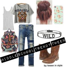 Middle school Trendy Tween Girl by tweeninstyle on Polyvore featuring Frye, Accessorize, Spallanzani, Vince, Scotch R'Belle and vintage