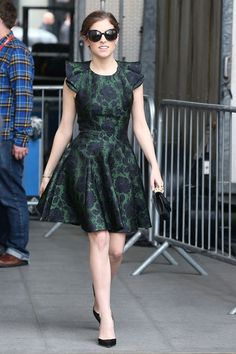 Anna Kendrick in Alexander McQueen paired with Jimmy pumps visits BBC Radio Studios in London. #bestdressed