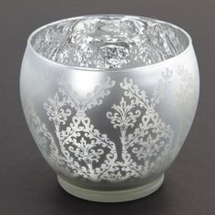 Frosted Mercury Glass LARGE Damask Votive Candle by PomJoyFun, $16.00