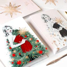 SNOW GLAM - CHRISTMAS CARD SET by Fashion Illustrator Cristina Alonso
