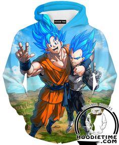 Super Saiyan Blue Vegeta and Goku Friends Hoodie - Dragon Ball Z Hoodies - 3D Printed DBZ Clothing