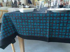 Handmade linen tablecloth. Det Danske Kunstnertapets Fugl Fønix  LLZ TAPET Denmark reprint of Ib Buch.