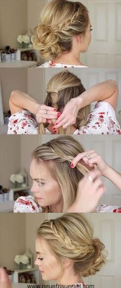 24 Beautiful Bridesmaid Hairstyles For Any Wedding - Lace Braid Homecoming Updo . - 24 Beautiful Bridesmaid Hairstyles For Any Wedding – Lace Braid Homecoming Updo Missy Sue – Bea - Simple Wedding Hairstyles, Easy Hairstyles For Long Hair, Trendy Hairstyles, Braided Hairstyles, Short Haircuts, Hairstyle Short, Goddess Hairstyles, Party Hairstyles, Pixie Hairstyles