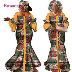 Traditional African Style Long Dress For Women Bazin Cotton Print Kitenge Ankara African Fashion Ankara, African Fashion Designers, Latest African Fashion Dresses, African Dresses For Women, African Print Fashion, Africa Fashion, African Attire, African Style, African Lace