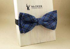 Blue Black Tartan Bow Tie - Ready Tied Bow Tie - Adult Bow Tie - Mens bowtie - Groomsman, Rustic, Boho Wedding Bow Tie  - Mr.DEER by MrDEERbowtie on Etsy