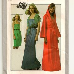 A Strapless Stretch Knit Short or Maxi Dress & Short Midriff Tie Jacket with Optional Hood Pattern, Vintage 1977