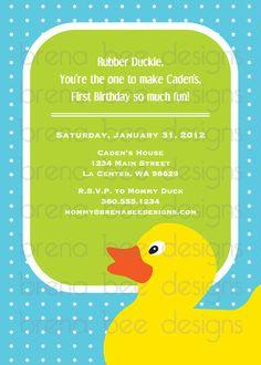Rubber Duckie Custom Birthday Printable Digital by brenabeedesigns, $10.00