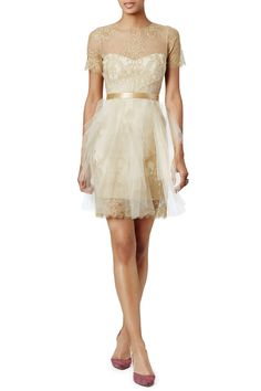 Ethereal Gold Dress by Marchesa Notte for $135 | Rent The Runway