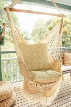 Relax outdoors or indoors in these gorgeous hand-made crochet Maldives Hammock Chair by Cabo Gypsy. Get yours at White Bohemian store. Hammock Chair, Hanging Chair, Rope Hammock, Swing Chairs, Room Chairs, Crochet Hammock, Gypsy Crochet, Bohemian Decor, White Bohemian
