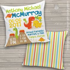 birth announcement pillow, dinosaur pillowcase with front and back pattern