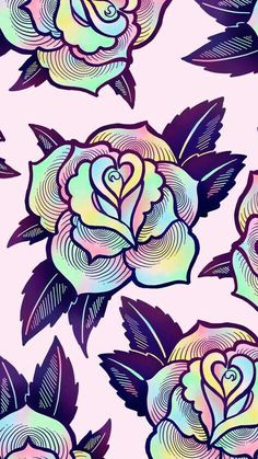Wallpaper for phone phone wallpapers pinterest wallpaper cute colorful psychedelic rose wallpaper for your phone or desktop computer by ectogasm voltagebd Choice Image