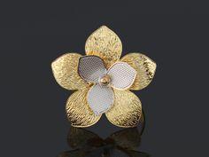 anel 6696 flor - ródio claro na Móveis pra Você