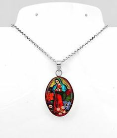 Sterling Silver Natural Flowers Virgin of Guadalupe Pendant