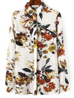 White Flower Print Blouses With Pocket