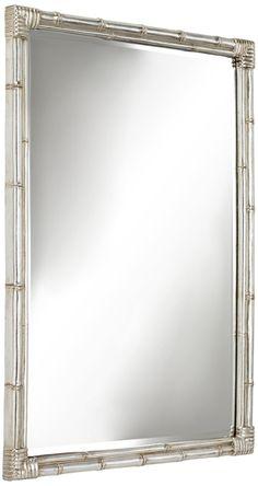 Takeo Silver x Rectangular Bamboo Wall Mirror - Bamboo Mirror, Bamboo Wall, Faux Bamboo, Beveled Mirror, Beveled Glass, Mirror Mirror, Bath Ideas, Bathroom Ideas, Takeo