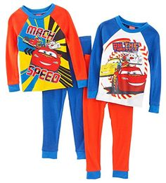 Disney Little Boys Cars Long Sleeve 4 Piece Cotton Pajama Set 24M >>> Continue to the product at the image link. (This is an affiliate link) #BabyBoySleepwearRobes