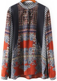 Shop Multicolor Long Sleeve Vintage Totem Print Blouse online. Sheinside offers Multicolor Long Sleeve Vintage Totem Print Blouse & more to fit your fashionable needs. Free Shipping Worldwide!