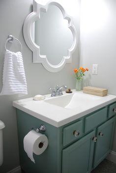 small bathroom makeover reveal benjamin moore moonshine olympic footpath quatrefoil mirror target threshold moen preston delta sentiment