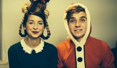 joe and zoe (zoella and thatcherjoe) turning joe into a grinch! go to either chanel to see the video Joe And Zoe Sugg, Joe Sugg, British Youtubers, Best Youtubers, Crazy People, People Like, Scary Face Swap, Grinch Videos, Sugg Life