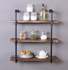 Vintage Industrial Style Pipe Design This cool looking industrial water pipe design, adds an vintage style and more vertical storage to your living room, bedroom, or office space. you could creates a stylized industrial aesthetic with this pipe shelf through your loving decorative items and... more details available at https://furniture.bestselleroutlets.com/home-office-furniture/bookcases/product-review-for-homissue-31-5-inch-industrial-pipe-shelf-3-shelf-wood-and-metal-book