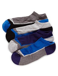 M&S Collection, Blue Mix 4 Pairs of Cotton Rich Freshfeet™ Assorted Trainer Liner Socks with Silver Technology