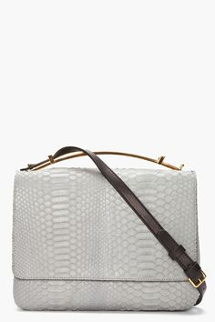 MARNI grey gold-handled Python leather Bag