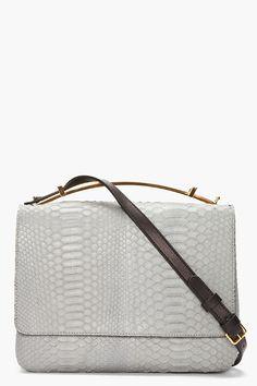 marni grey gold-handled python leather bag