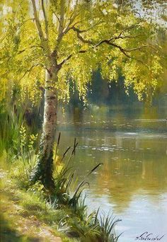 Chab & # Art: Works by Serguéï Toutounov - Acrylic Painting Watercolor Paintings Nature, Watercolor Trees, Watercolor Landscape, Landscape Paintings, Watercolor Portraits, Acrylic Paintings, Abstract Paintings, Contemporary Paintings, Art Paintings