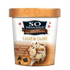 Salted Caramel Cluster: dairy free Cashew milk ice cream by So Delicious. I'm loving the sweet and nutty flavor of all the cashew milk ice creams I found thus far in this brand. Milk Ice Cream, Dairy Free Ice Cream, Vegan Ice Cream, Dairy Free Treats, Vegan Treats, Vegan Snacks, Salted Caramel Bars, Dairy Freeze, Organic Yogurt