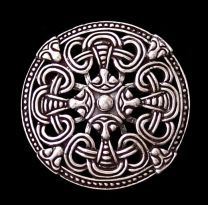 """Round Brooches being worn instead of Oval Brooches were found in the more Northern reaches of the Continent. Round or Circular Brooches were most notably worn by Finnish Women. Round Disk Broach Viking Age Borre Style Broach Fixtures & Pendant Bail on Back"" (quote) replica"
