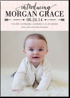 Arrowed Intro: Girl - Girl Photo Birth Announcements in Chenille or Peony | Elm & Gray