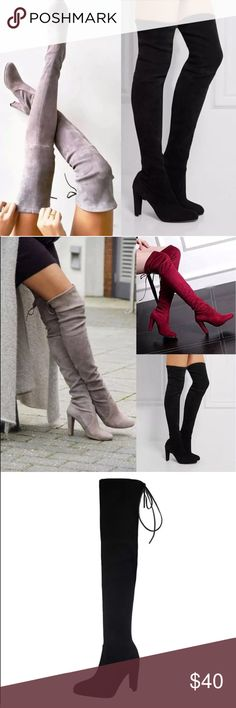 New black thigh high boots Women's size 8- true to size. Brand new black over the knee hunky heel boots. Shoes Over the Knee Boots