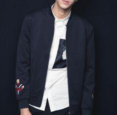 Embroidered geometric bomber jacket for men