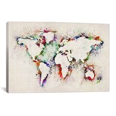 iCanvas Michael Thompsett Map of The World Paint Splashes Canvas Print Wall Art