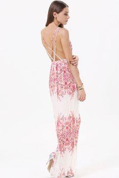#SALE White V Neck Criss Cross Back Floral Maxi Dress Shop the #SALE at #Sheinside