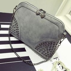 8a52a10b33c6 2017 Winter Chain Rivet Shell Bag Famous Brand Fashion PU Leather Women  Messenger Bags ladies crossbody shoulder bag sac a main