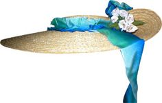 Civil War Ladies Straw Hats | Pleated ribbon forms trim around the crown and long ribbon ties ...