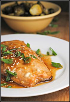 Toasted Sesame Salmon (sweet glaze with brown sugar, honey, sesame oil)