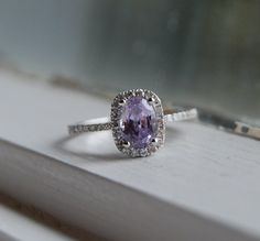 I've found my dream engagement ring: Lavender violet cushion color change sapphire diamond ring. Pretty Rings, Beautiful Rings, Color Change Sapphire, For Elise, Sapphire Diamond, Purple Diamond, Diamond Are A Girls Best Friend, Just In Case, Amethyst