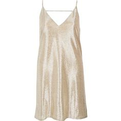 River Island Gold foil slip dress (760 ZAR) ❤ liked on Polyvore featuring dresses, day / t-shirt dresses, gold, women, pink t shirt dress, pink camisole, metallic dress, metallic gold dress and deep v neck dress
