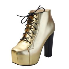 GBOT / Fashion Gold lace up sexy high platform high heels fashionable comfortable designer women boots.