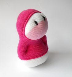 Sock toy Hoodie Huggable, stuffed cute monster kids toy, sock creature pink, plush monster creature toy
